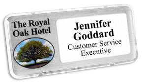 Reusable plastic name badges - Clear border and brushed silver background | www.namebadgesinternational.co.uk